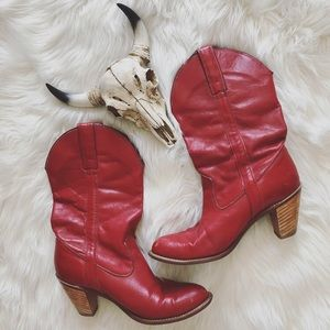 Blood Red Leather Western Boots Size 8 by Capezio